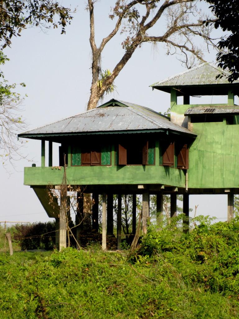 Under basha, military has stored a canoe for monsoon season
