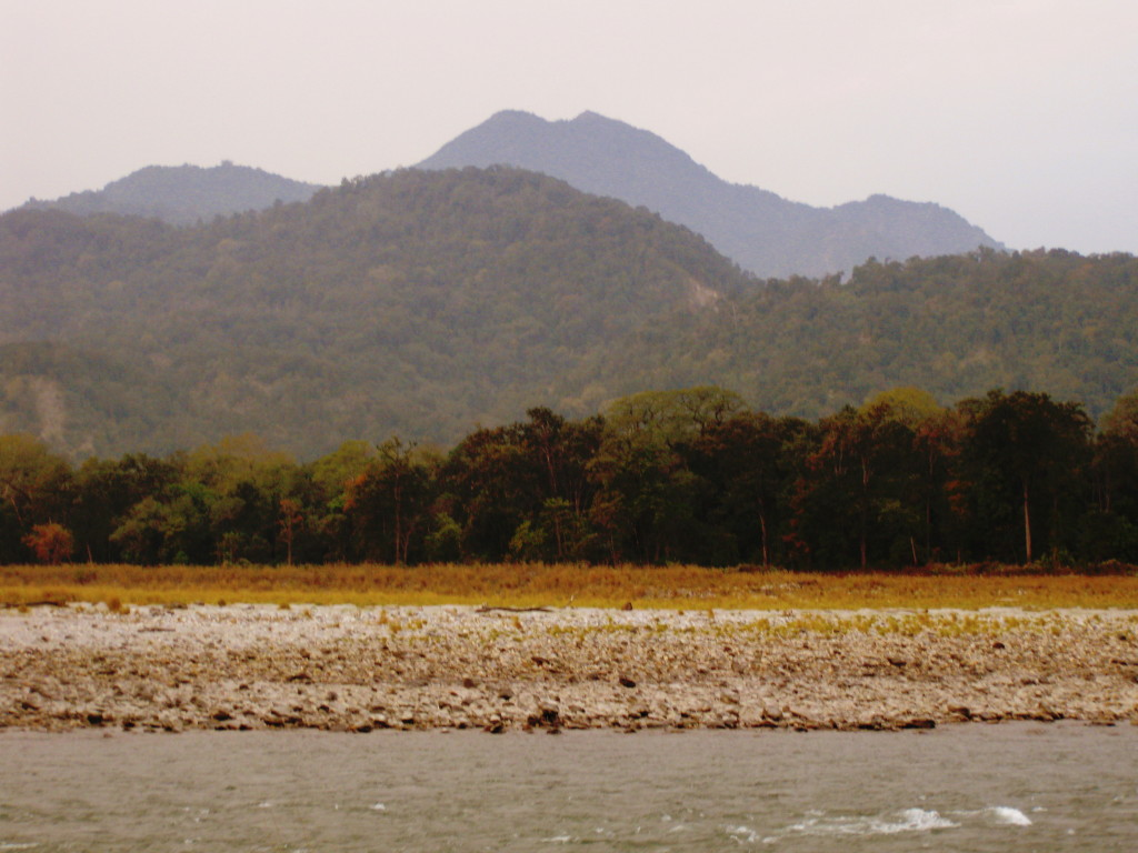 Manas River separating India from Bhutan