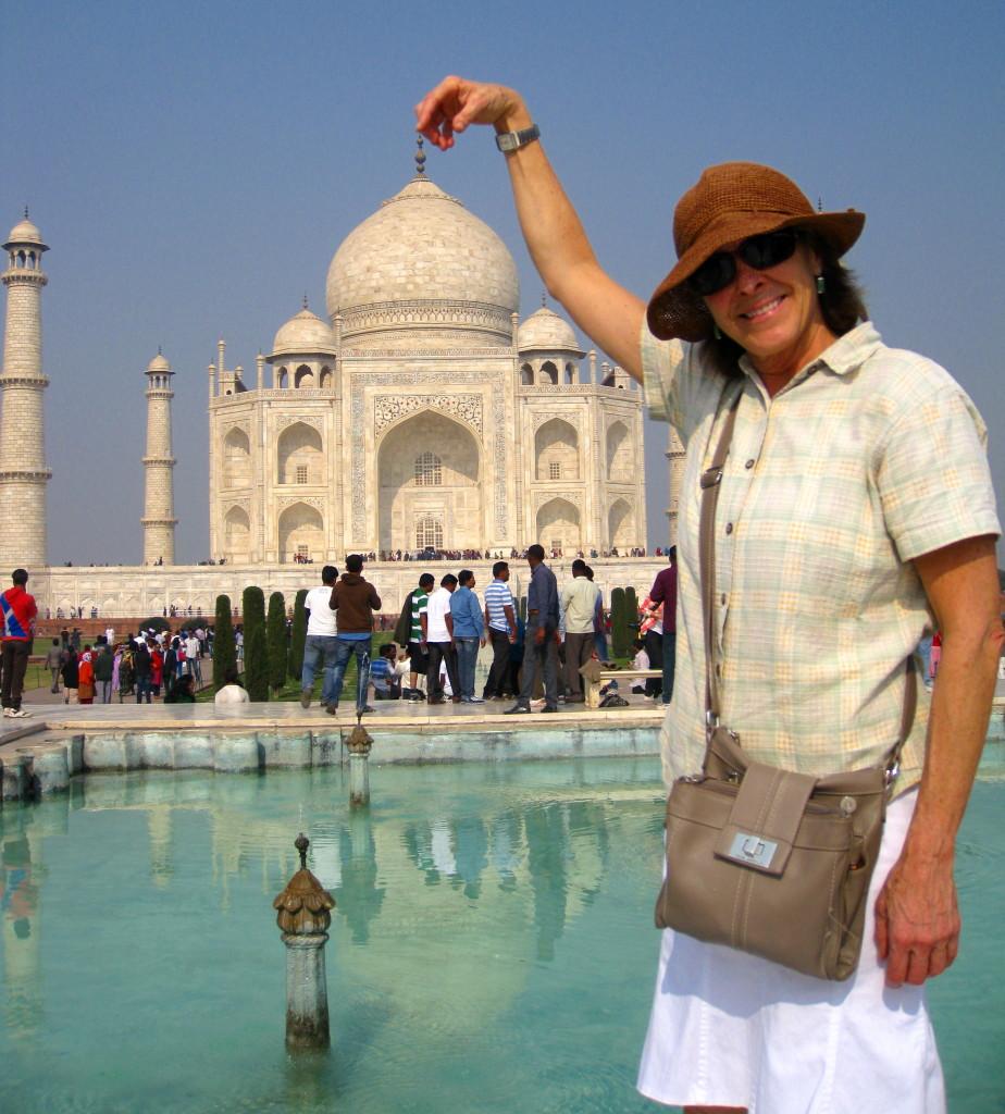 Dorky photo with throngs of visitors at Taj