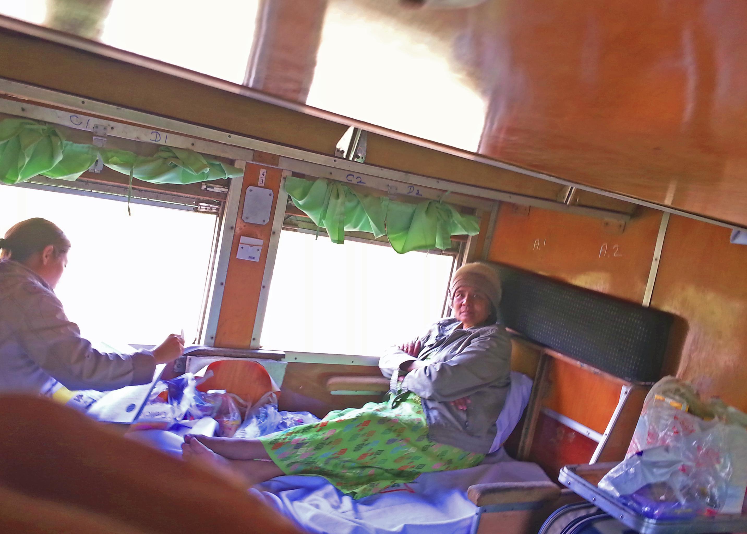 First class sleeper on train from Mandalay to Myitkyina.